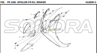F06 FR UND. SPOILER-FR R/L WINKER for HU05W-C MIO 50 Spare Part Top Quality