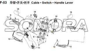 F-03 Cable • Switch • Handle Lever XS150T-8 CROX For SYM Spare Part Top Quality