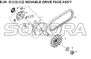 E-09 MOVABLE DRIVE FACE ASSY XS150T-8 CROX For SYM Spare Part Top Quality